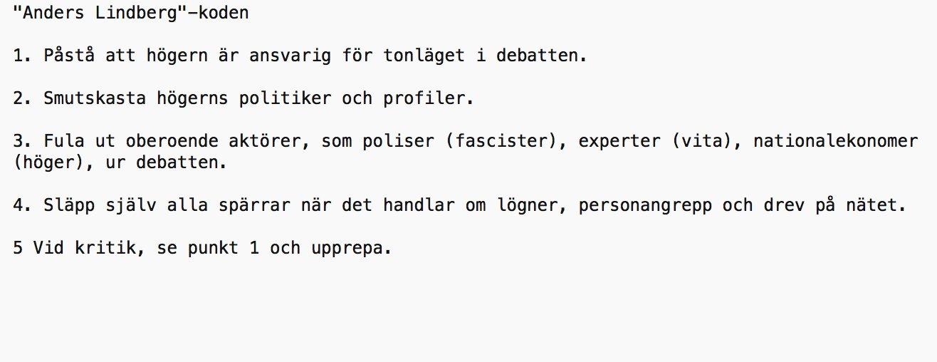 Anders Lindbergs kod för att vara ett hatiskt troll i den politiska debatten.