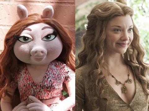Lika som bär. Miss Piggy och Margaery (vem är det?).