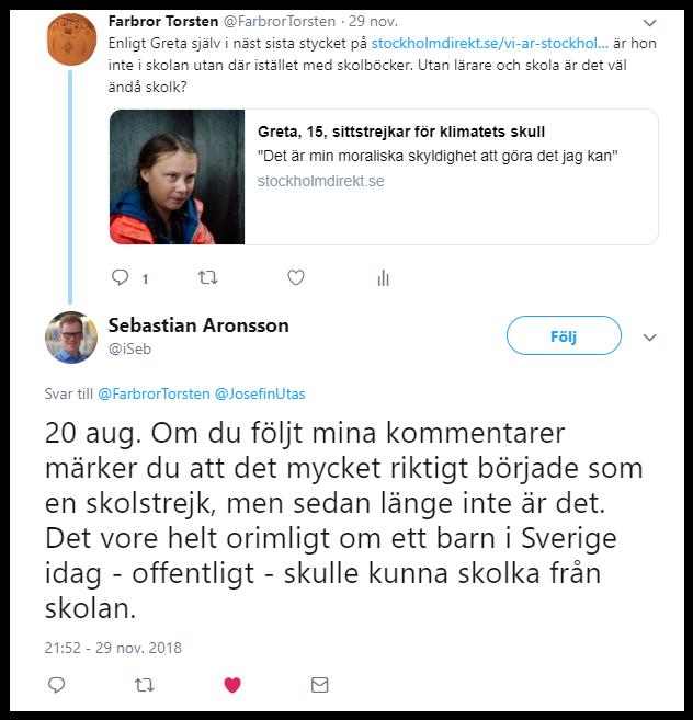 Greta Thunbergs skolstrejk var skolk.