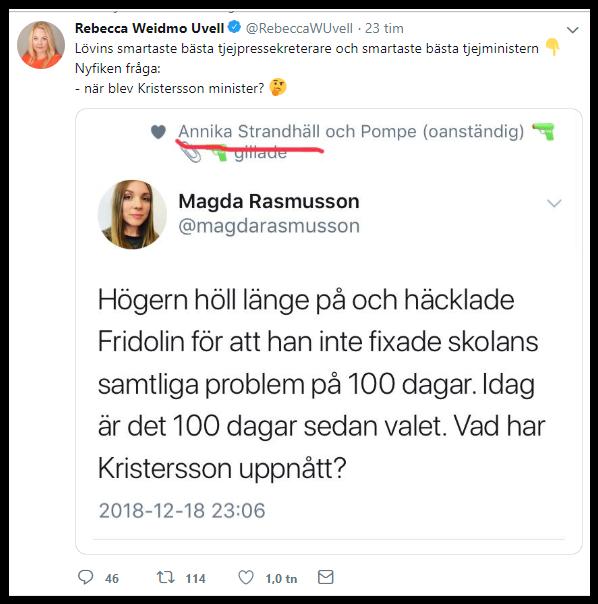 Magda Rasmusson framstår som inte helt påläst och det är god politisk underhållning.