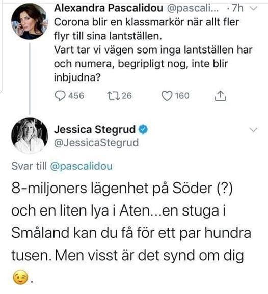Rika privilegierade Alexandra Pascalidou tycker synd om sig själv som inte har ett lantställe. Oklart för mig var hon i Sverige iofs.