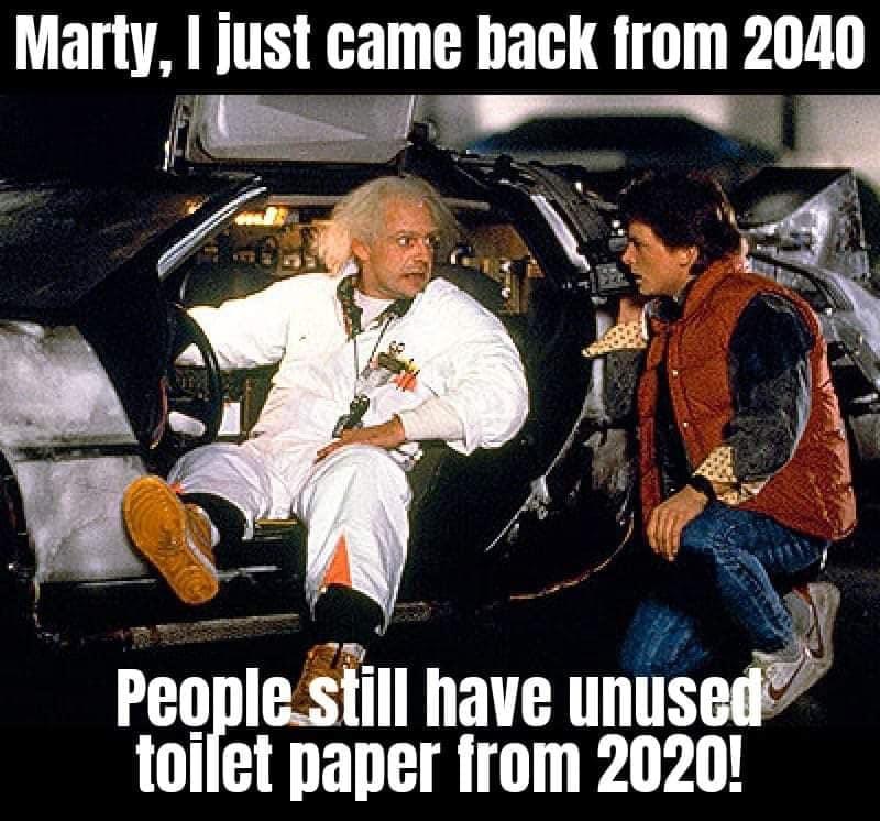 Tillbaka till framtiden - ännu 2040 har folk kvar oanvända toarullar.