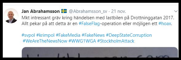 Jan Abrahamsson ljuger om terrordådet påDrottninggatan 2017.