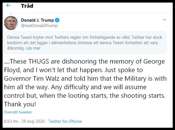 Trump hotar med våld på twitter, blir censurerad