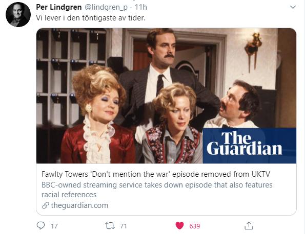 BBC har tagit bort ett avsnitt av Fawlty Towers (Pang i bygget!) för att man skojar på bekostnad av nazister