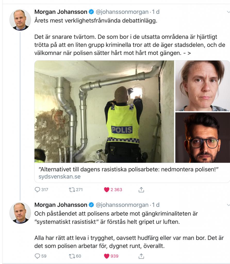 Morgan Johansson attackerar Ida Nafstad och Amin Parsa