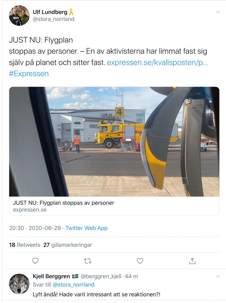 Aktivister stoppar flyg med lim