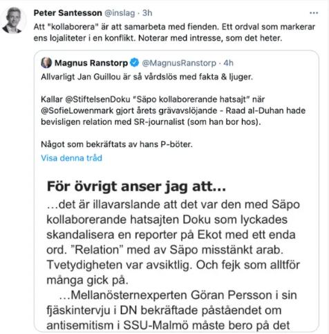 Janne Guillou attackerar Doku denna gång. Pinsamt som alltid. Läs hans citat här.