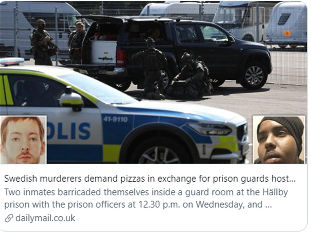 Två mördare som tar gisslan för att få pizza.