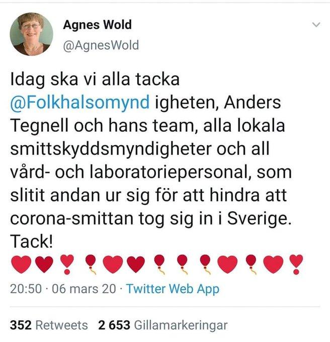 Agnes Wold tackade redan i mars 2020  Folkhälsomyndigheten och Anders Tegnell för att viruset är stoppat och vi slapp corona-smittan i Sverige.