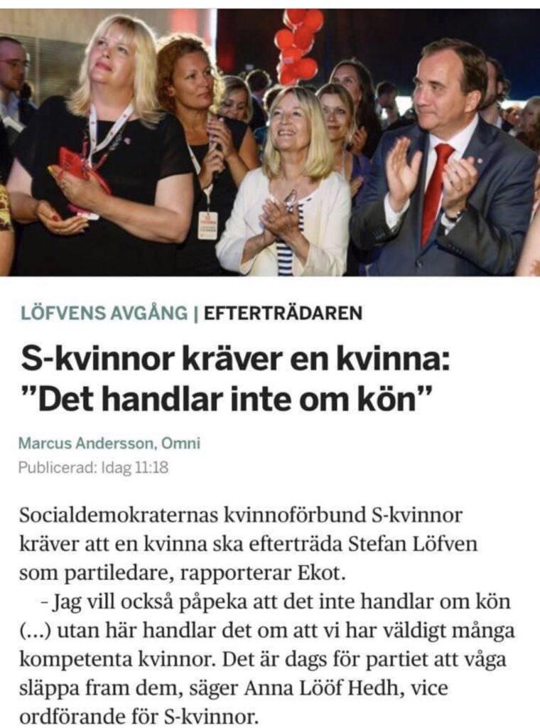 Veckans töntar är socialistiska S-kvinnor som kräver att nästa partiledare ska bli en kvinna trots att de menar att kön inte spelar någon roll.